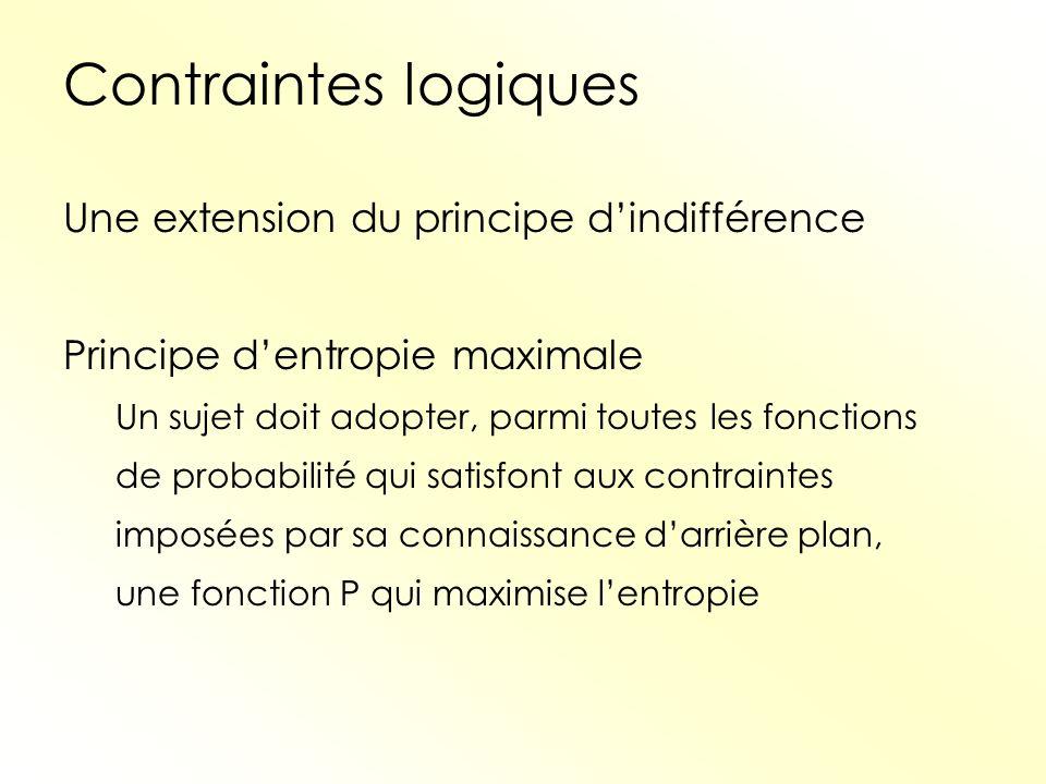 Contraintes logiques Une extension du principe d'indifférence