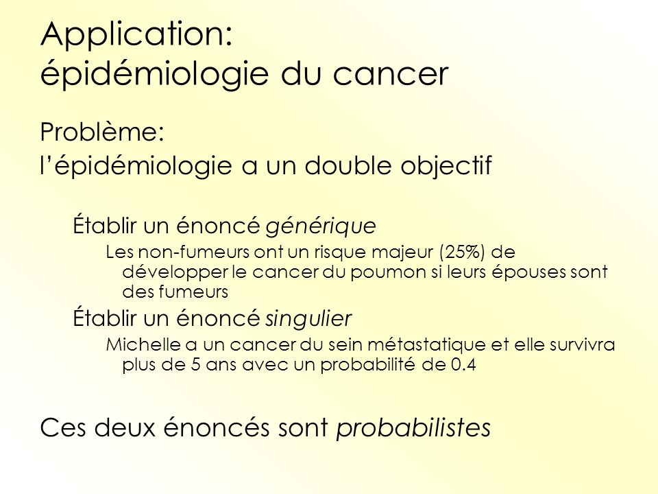 Application: épidémiologie du cancer