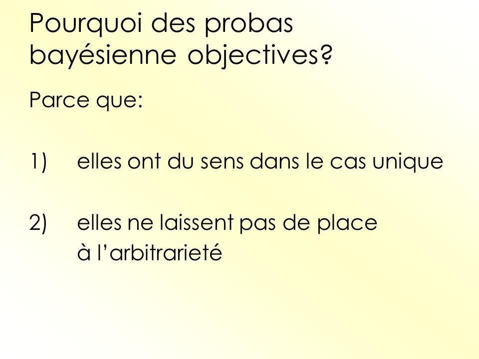 Pourquoi des probas bayésienne objectives