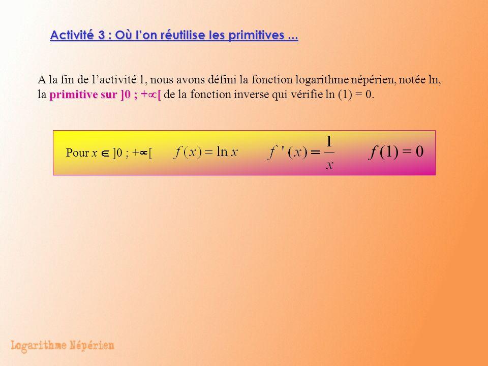 f (1) = 0 Activité 3 : Où l'on réutilise les primitives ...