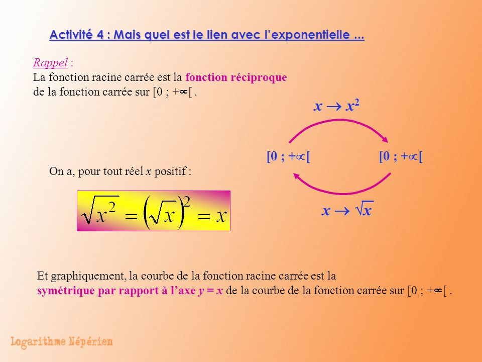 Activité 4 : Mais quel est le lien avec l'exponentielle ...