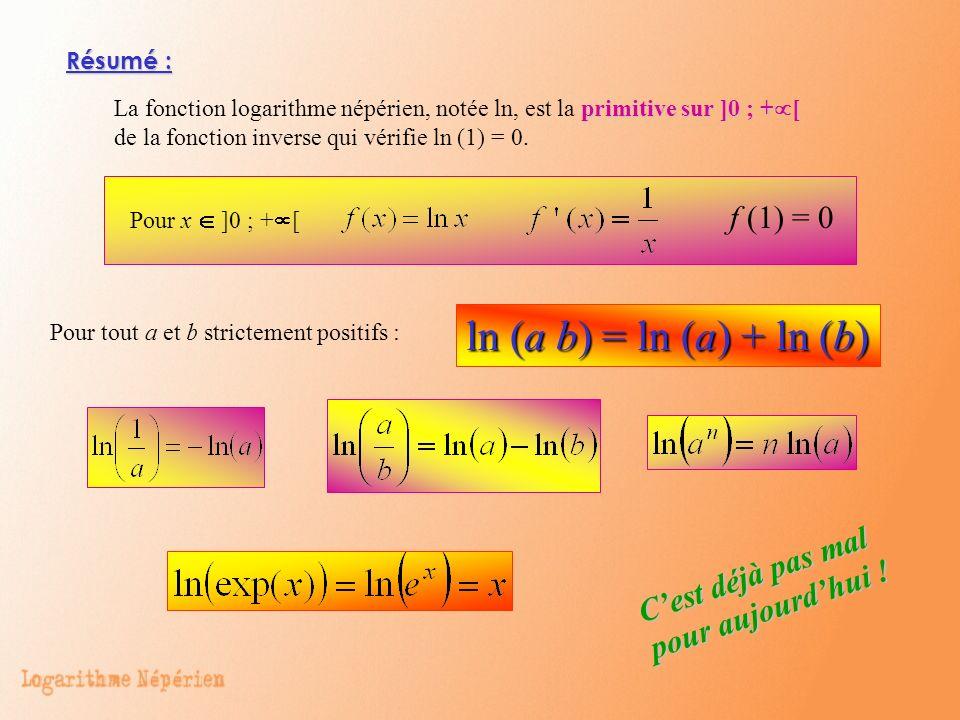 ln (a b) = ln (a) + ln (b) f (1) = 0 C'est déjà pas mal