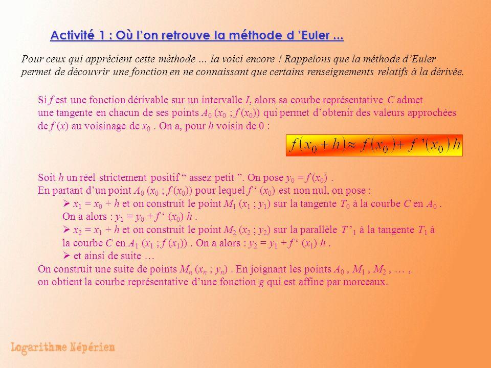 Activité 1 : Où l'on retrouve la méthode d 'Euler ...