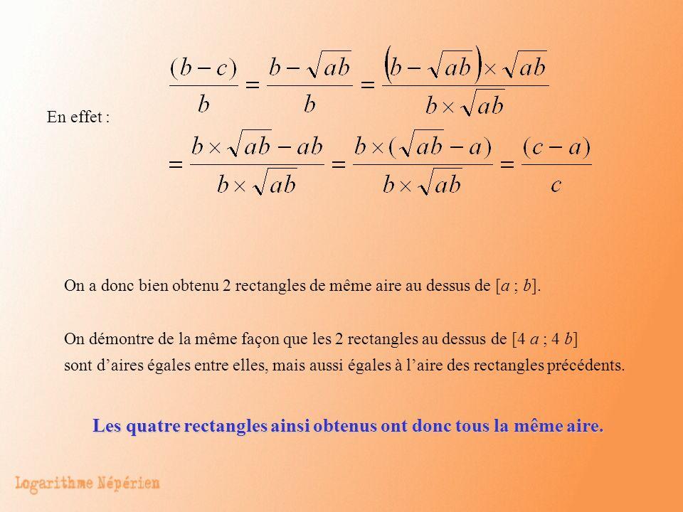 Les quatre rectangles ainsi obtenus ont donc tous la même aire.