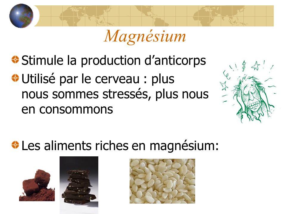 Magnésium Stimule la production d'anticorps