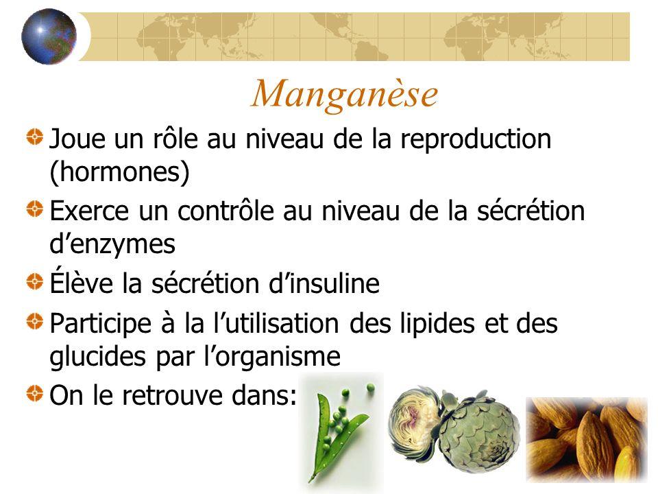 Manganèse Joue un rôle au niveau de la reproduction (hormones)