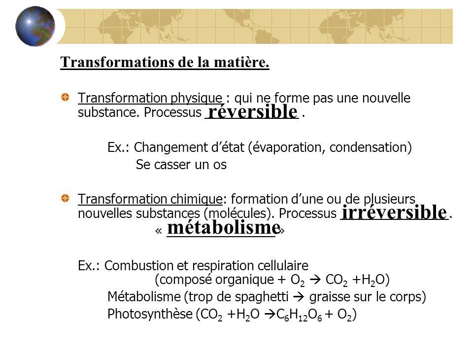 réversible irréversible métabolisme Transformations de la matière.