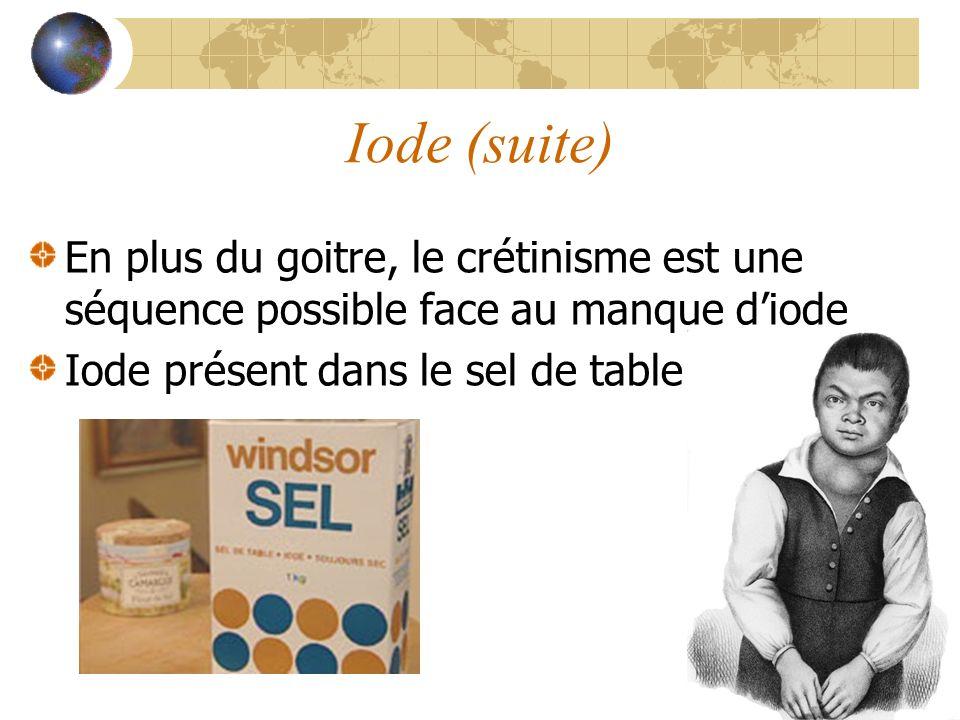 Iode (suite) En plus du goitre, le crétinisme est une séquence possible face au manque d'iode.