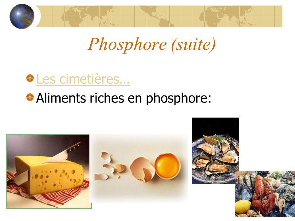 Phosphore (suite) Les cimetières… Aliments riches en phosphore: