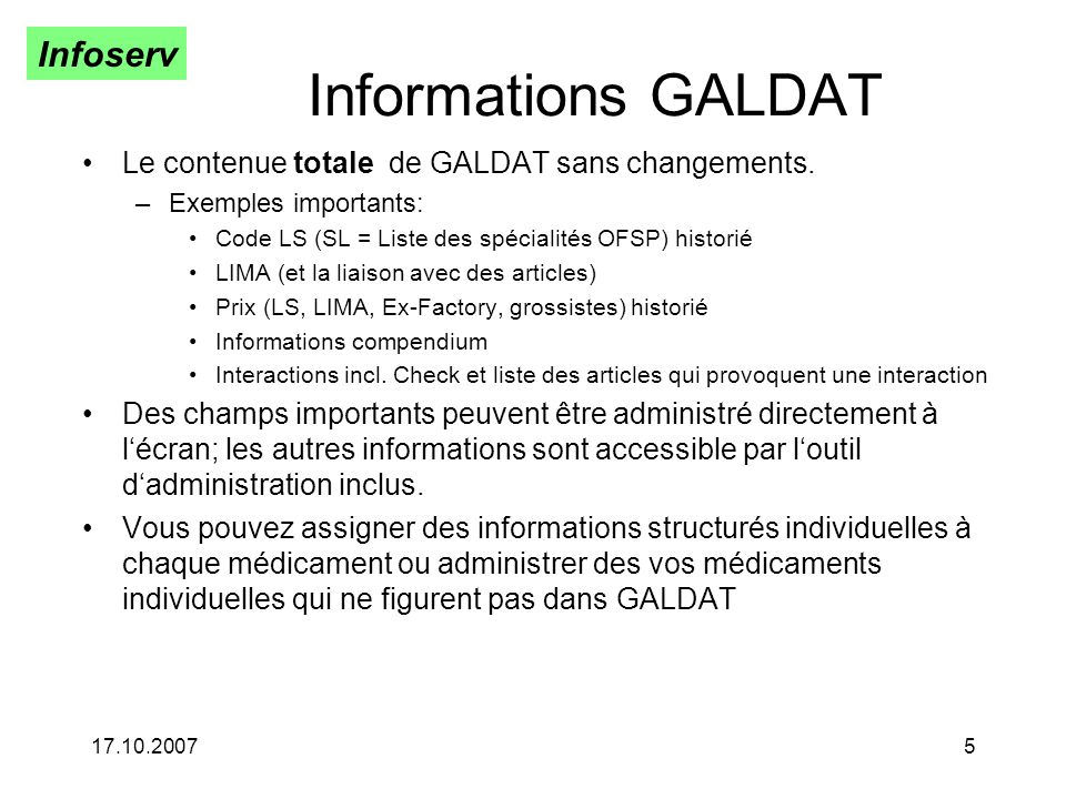 Informations GALDAT Le contenue totale de GALDAT sans changements.