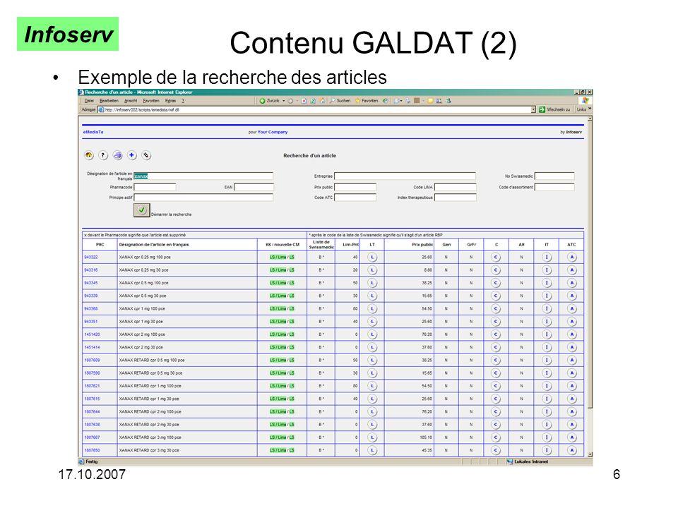 Contenu GALDAT (2) Exemple de la recherche des articles 17.10.2007