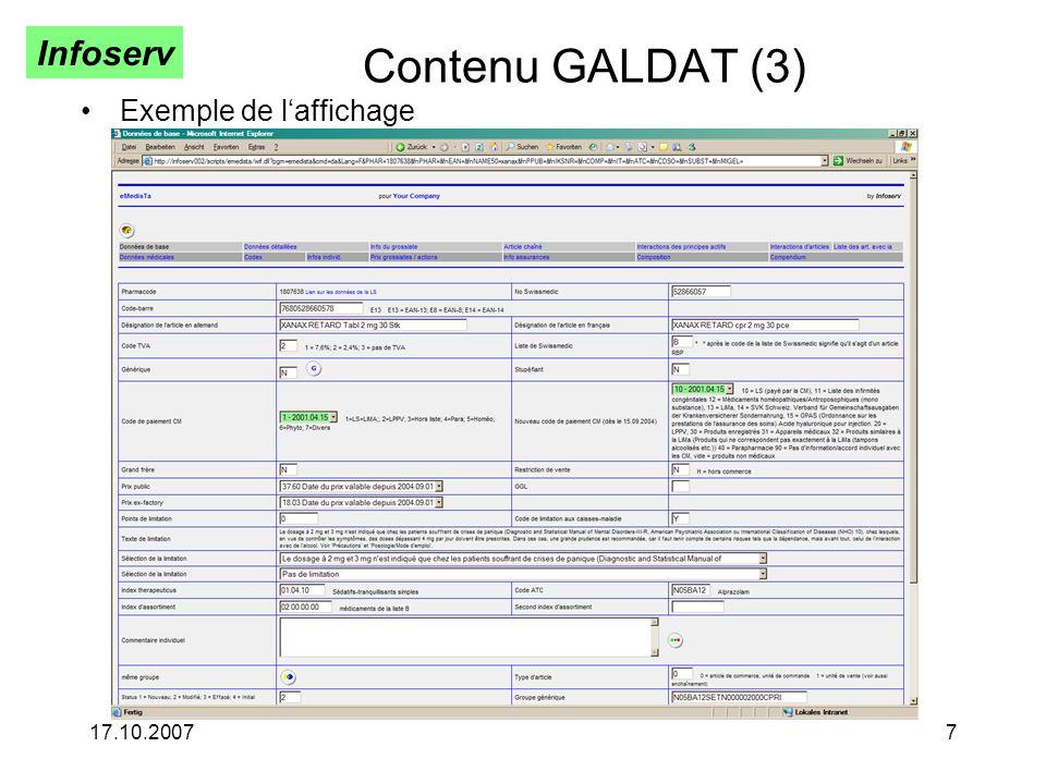 Contenu GALDAT (3) Exemple de l'affichage 17.10.2007