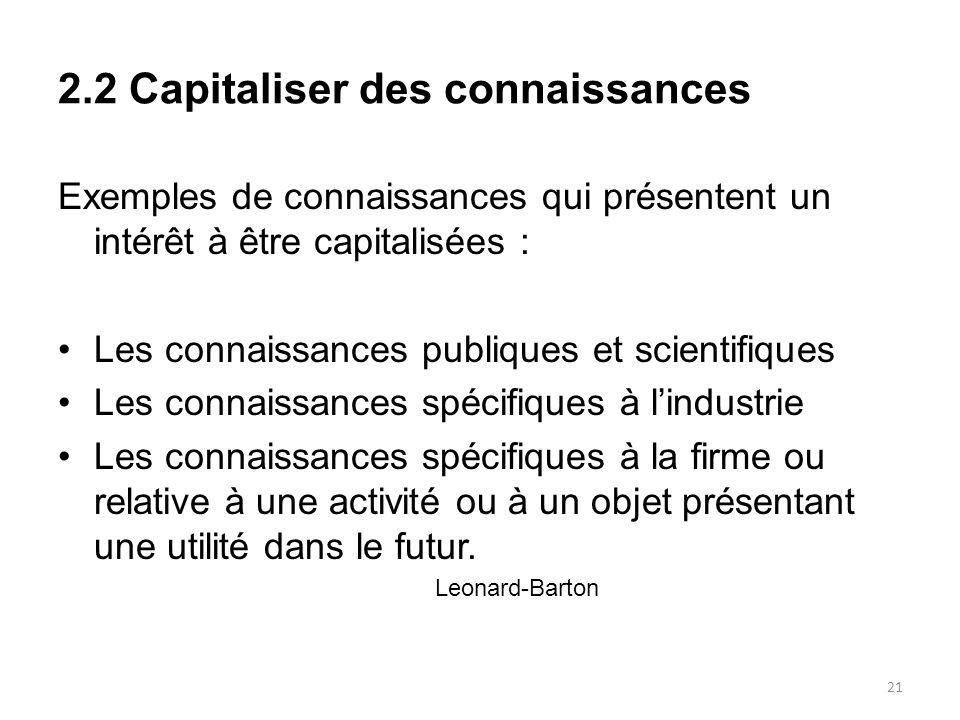 2.2 Capitaliser des connaissances