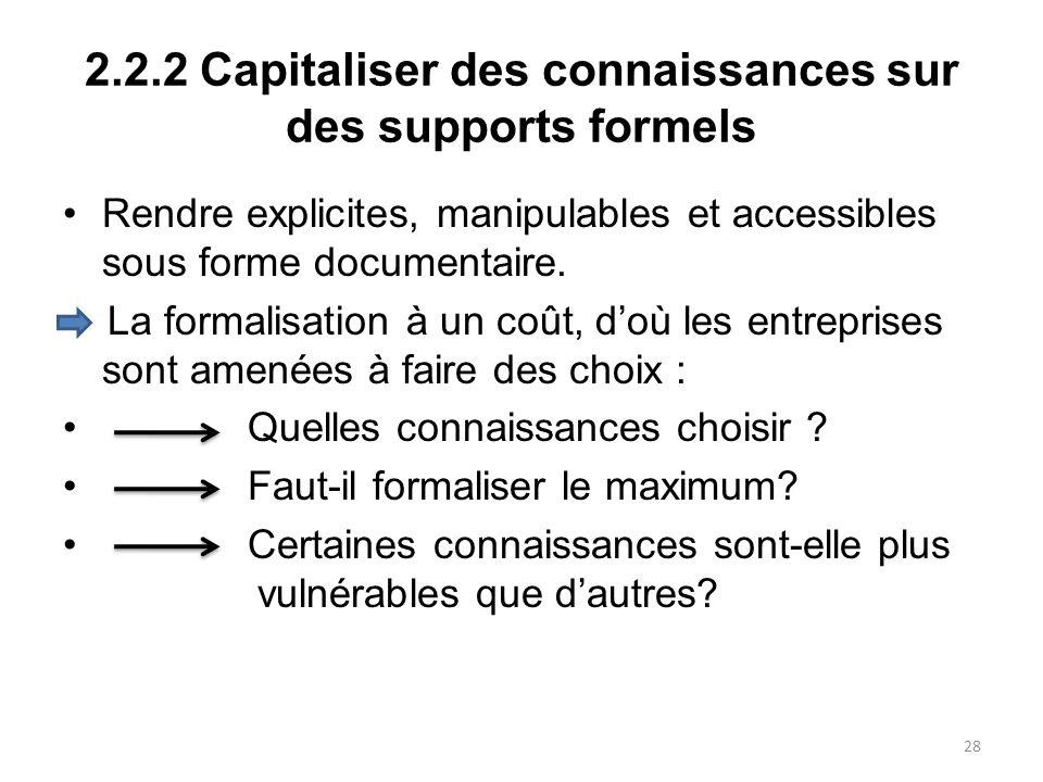 2.2.2 Capitaliser des connaissances sur des supports formels