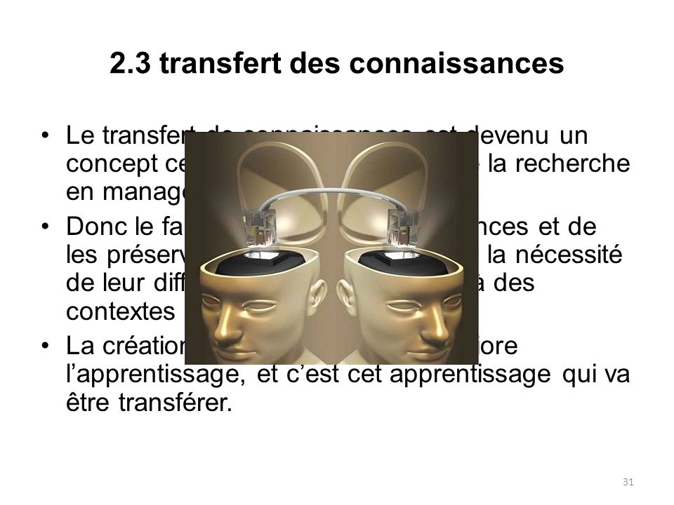 2.3 transfert des connaissances