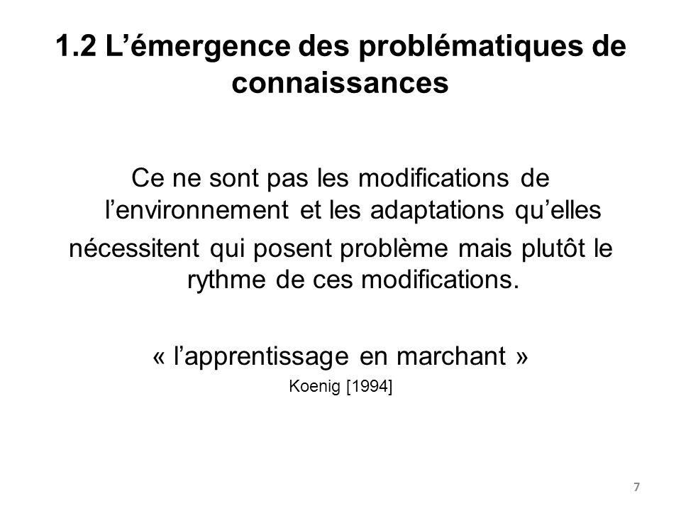 1.2 L'émergence des problématiques de connaissances