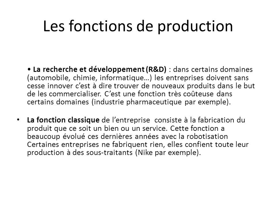 Les fonctions de production