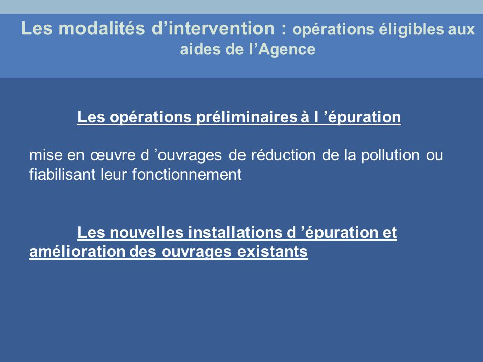 Les modalités d'intervention : opérations éligibles aux aides de l'Agence