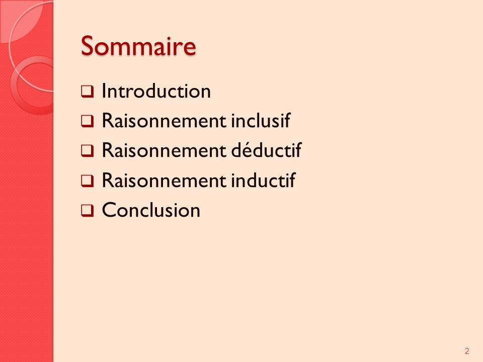 Sommaire Introduction Raisonnement inclusif Raisonnement déductif