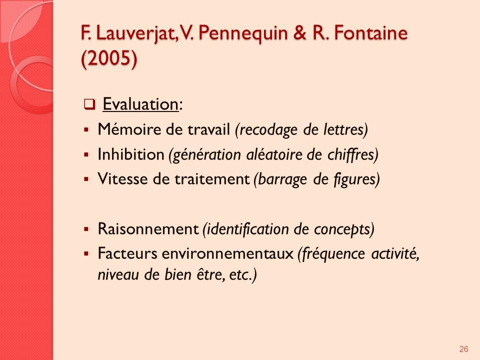 F. Lauverjat, V. Pennequin & R. Fontaine (2005)