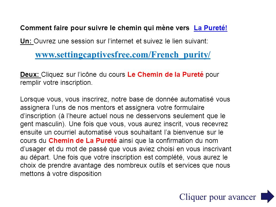 www.settingcaptivesfree.com/French_purity/ Cliquer pour avancer