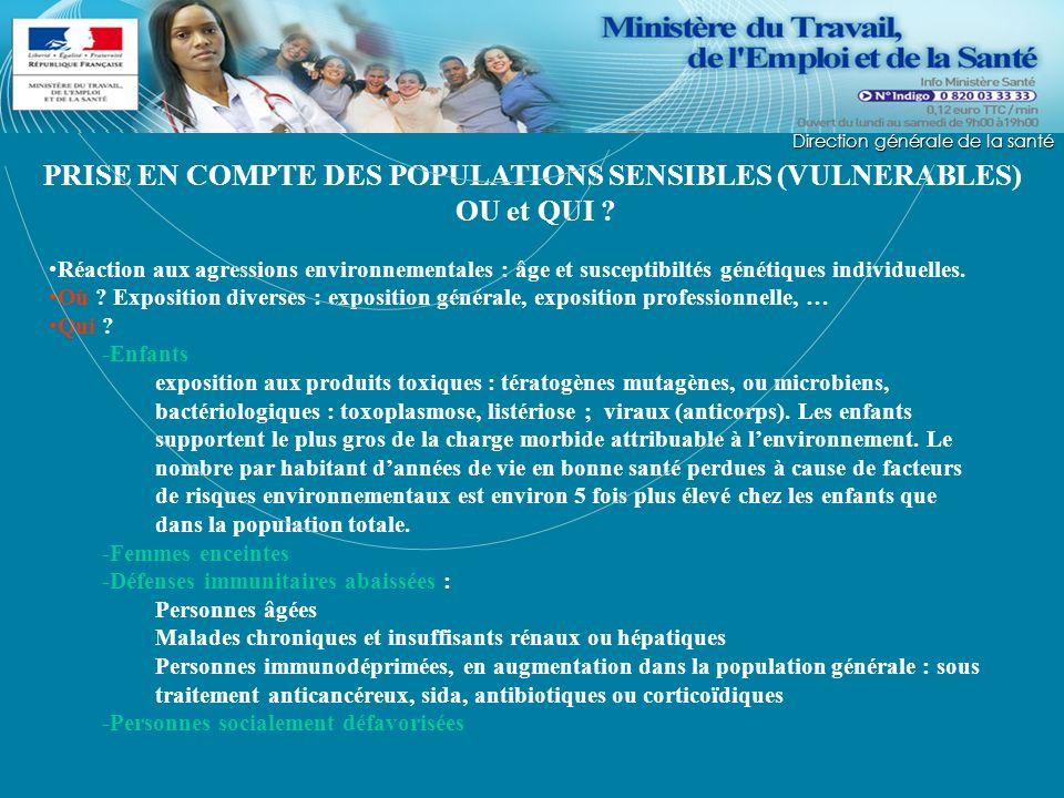 PRISE EN COMPTE DES POPULATIONS SENSIBLES (VULNERABLES) OU et QUI