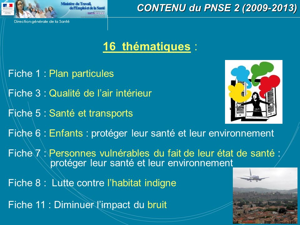 16 thématiques : CONTENU du PNSE 2 (2009-2013)