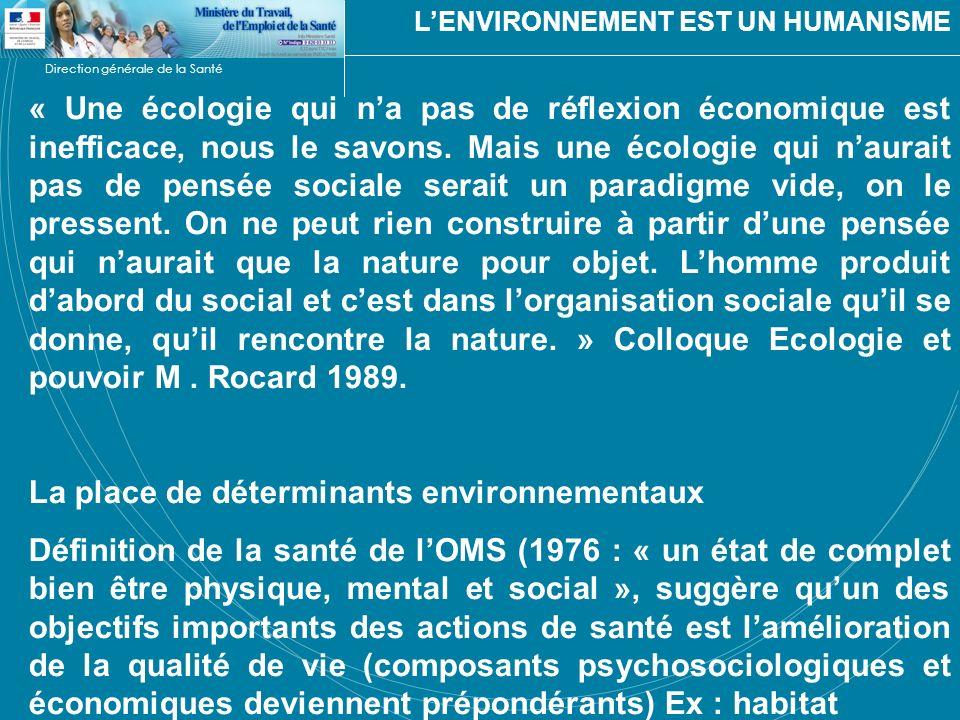 La place de déterminants environnementaux