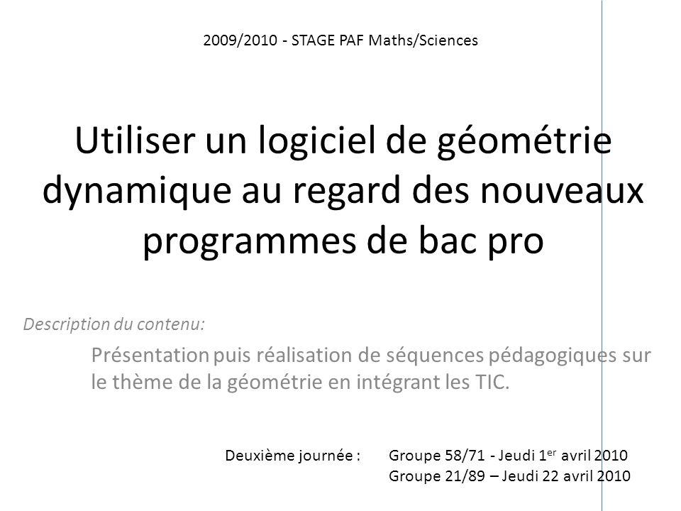 2009/2010 - STAGE PAF Maths/Sciences