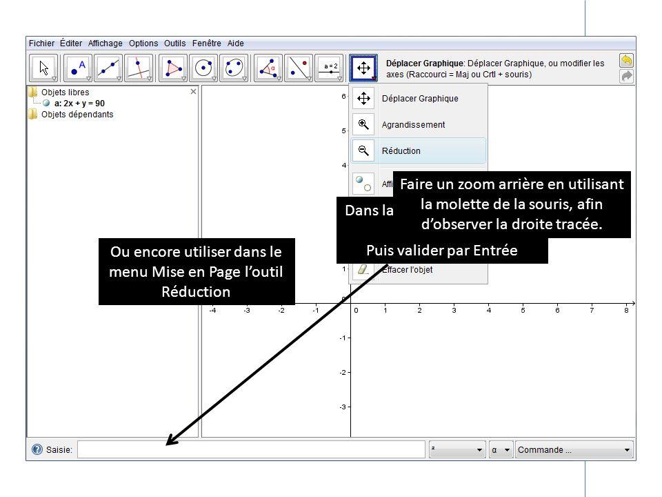 Dans la zone de saisie taper : 2x+y=90 Puis valider par Entrée