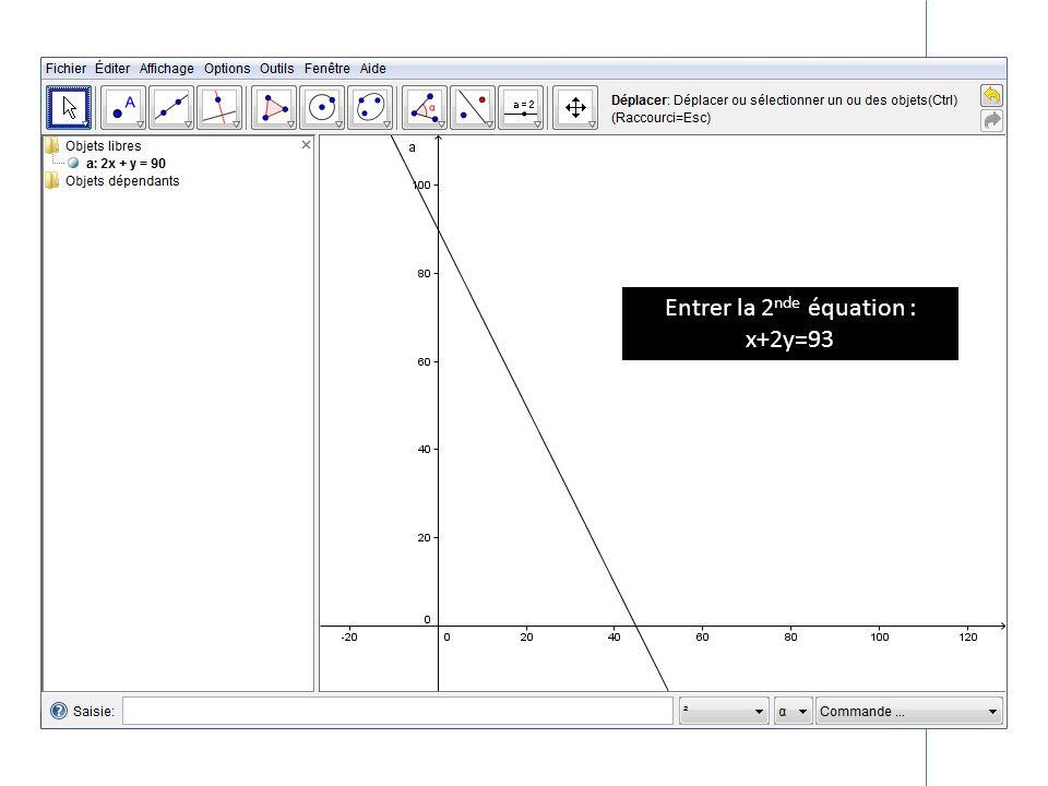 Entrer la 2nde équation :