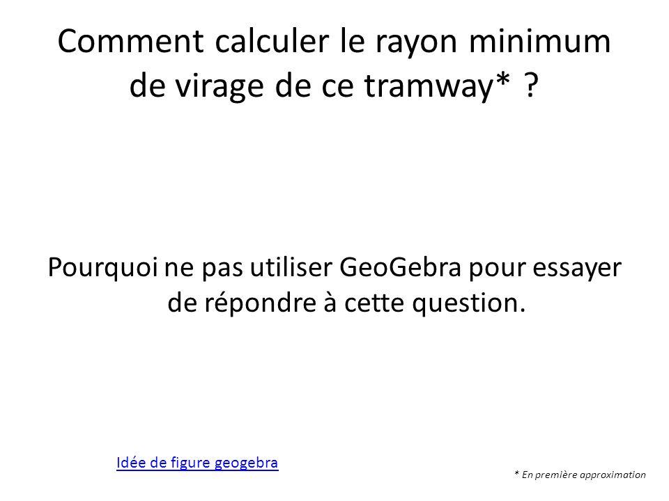 Comment calculer le rayon minimum de virage de ce tramway*