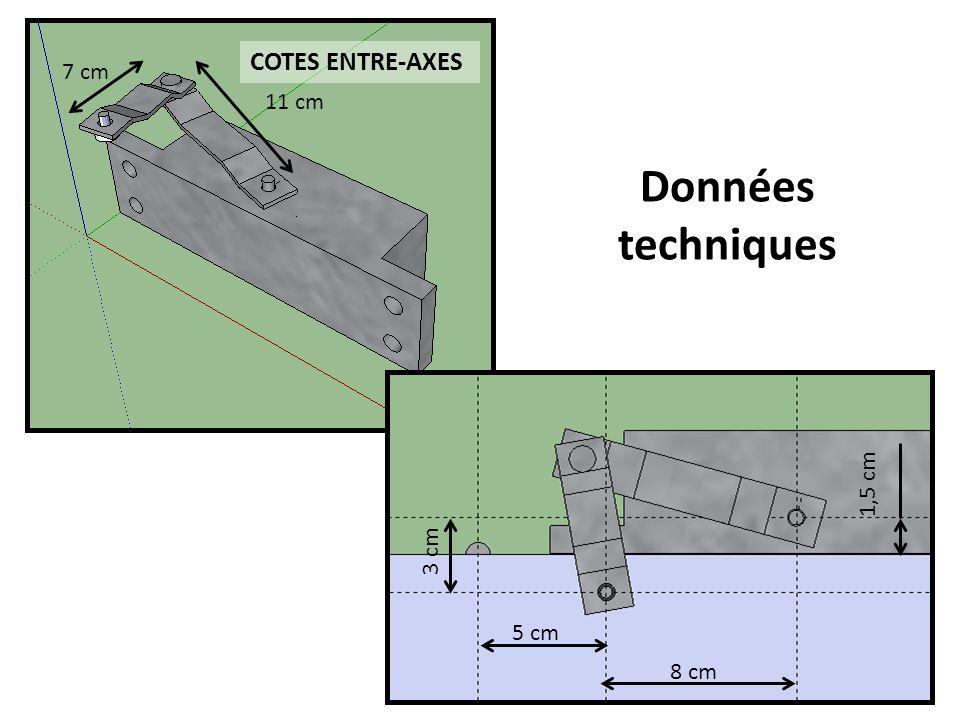 Cotes entre-axes 7 cm 11 cm Données techniques 1,5 cm 3 cm 5 cm 8 cm