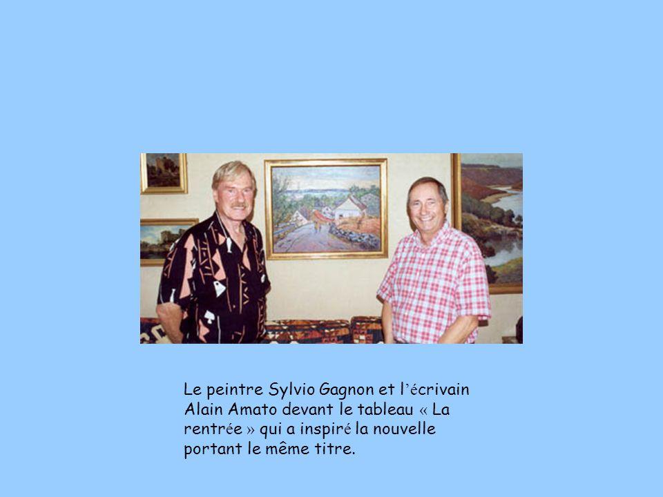Le peintre Sylvio Gagnon et l'écrivain Alain Amato devant le tableau « La rentrée » qui a inspiré la nouvelle portant le même titre.