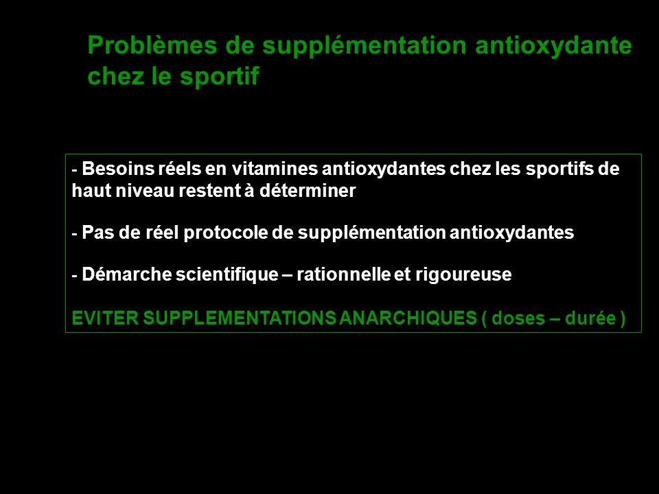 Problèmes de supplémentation antioxydante chez le sportif