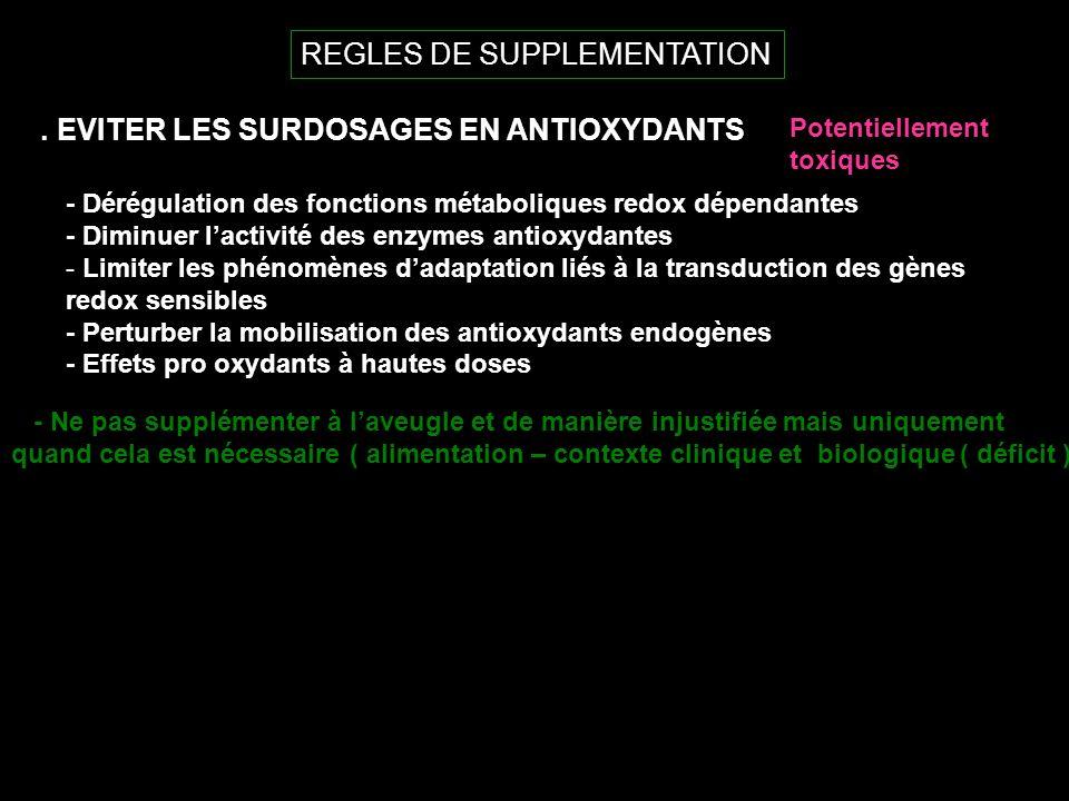 REGLES DE SUPPLEMENTATION