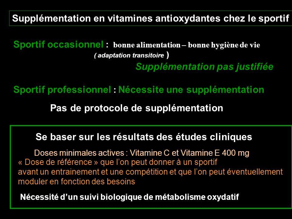 Supplémentation en vitamines antioxydantes chez le sportif