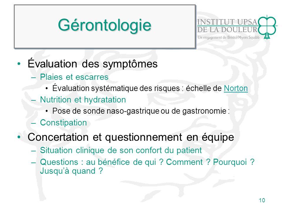 Gérontologie Évaluation des symptômes
