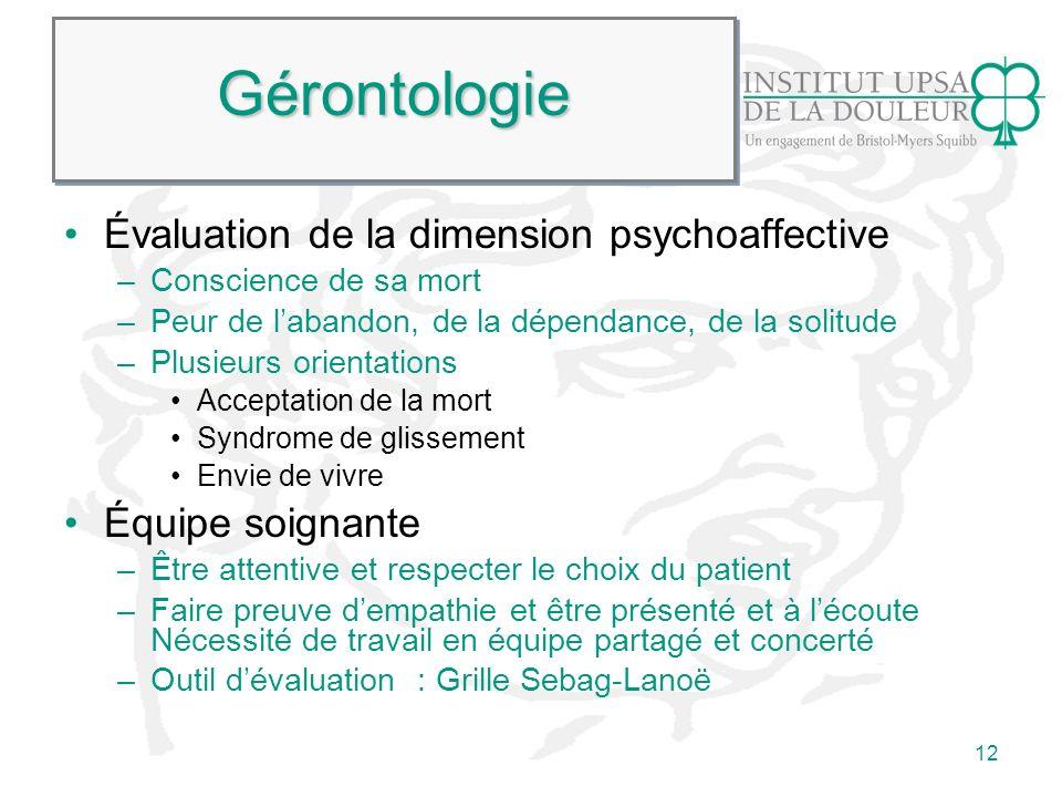 Gérontologie Évaluation de la dimension psychoaffective