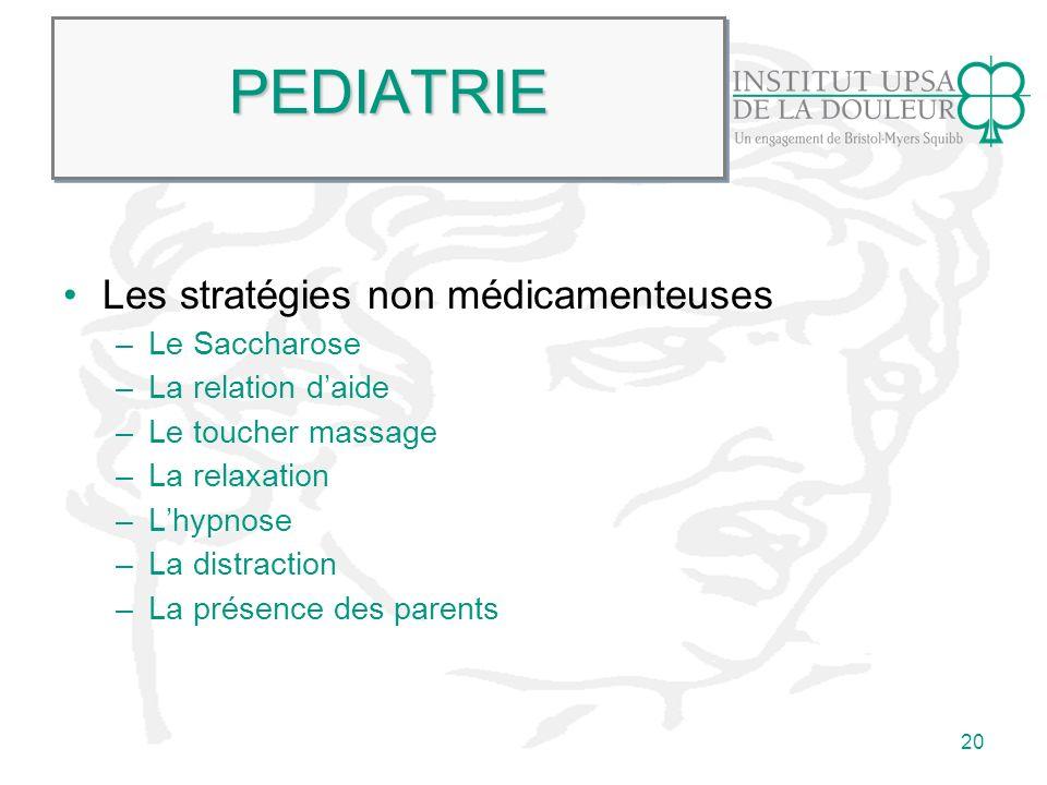 PEDIATRIE Les stratégies non médicamenteuses Le Saccharose