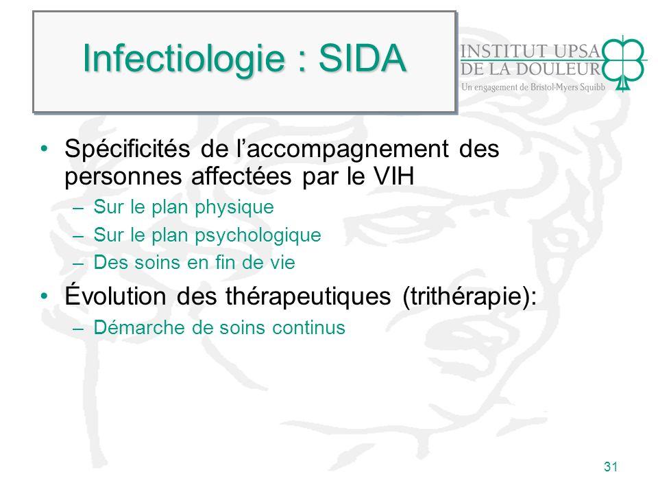 Infectiologie : SIDA Spécificités de l'accompagnement des personnes affectées par le VIH. Sur le plan physique.