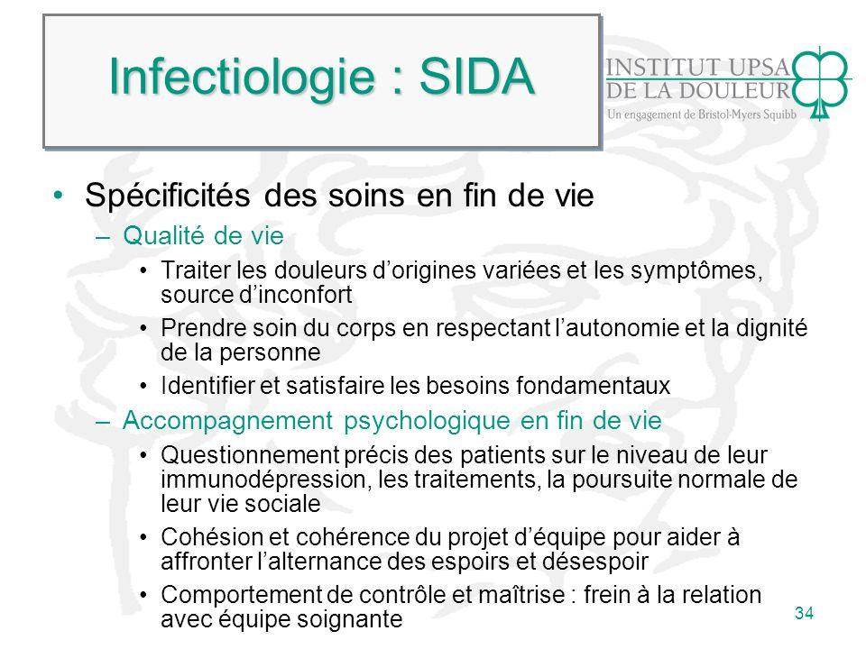 Infectiologie : SIDA Spécificités des soins en fin de vie