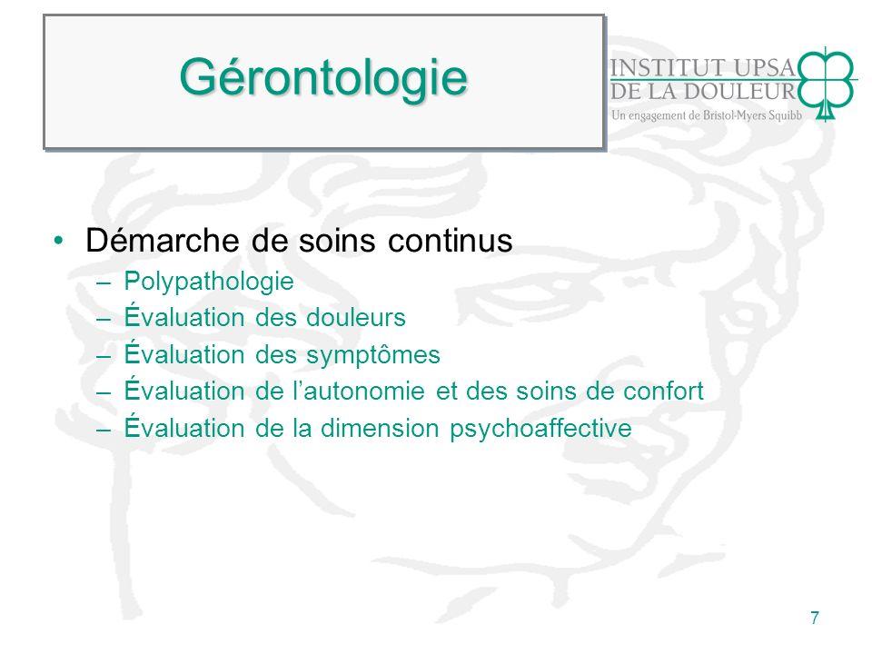 Gérontologie Démarche de soins continus Polypathologie