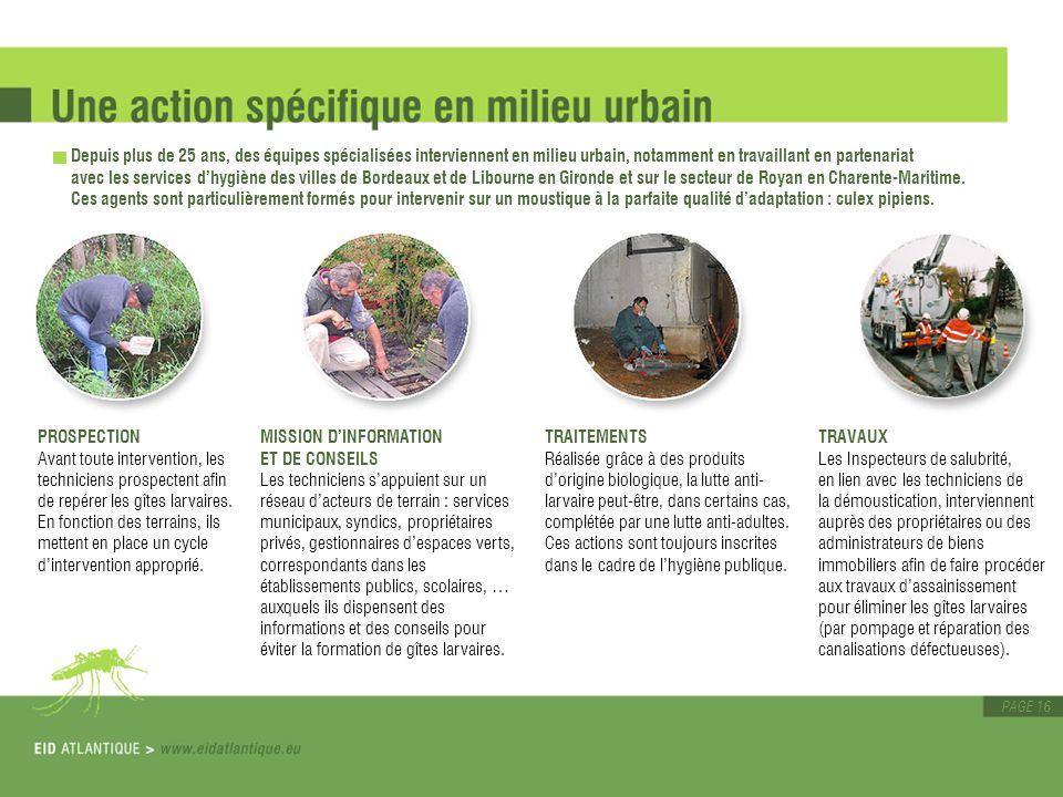 Depuis plus de 25 ans, des équipes spécialisées interviennent en milieu urbain, notamment en travaillant en partenariat avec les services d'hygiène des villes de Bordeaux et de Libourne en Gironde et sur le secteur de Royan en Charente-Maritime. Ces agents sont particulièrement formés pour intervenir sur un moustique à la parfaite qualité d'adaptation : culex pipiens.