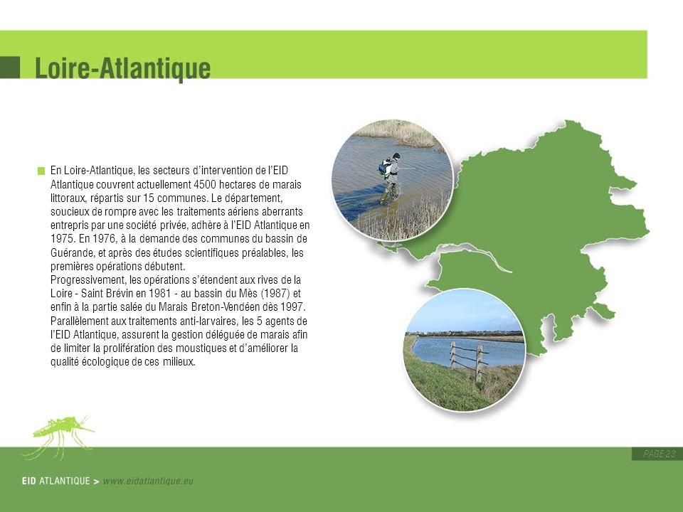 En Loire-Atlantique, les secteurs d'intervention de l'EID Atlantique couvrent actuellement 4500 hectares de marais littoraux, répartis sur 15 communes.