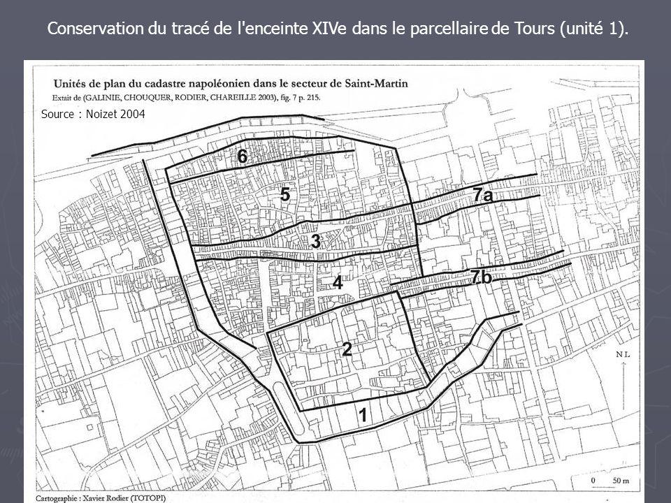 Conservation du tracé de l enceinte XIVe dans le parcellaire de Tours (unité 1).