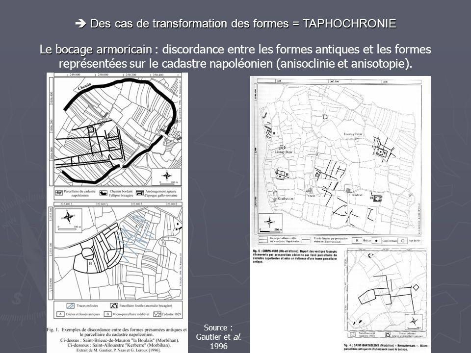  Des cas de transformation des formes = TAPHOCHRONIE