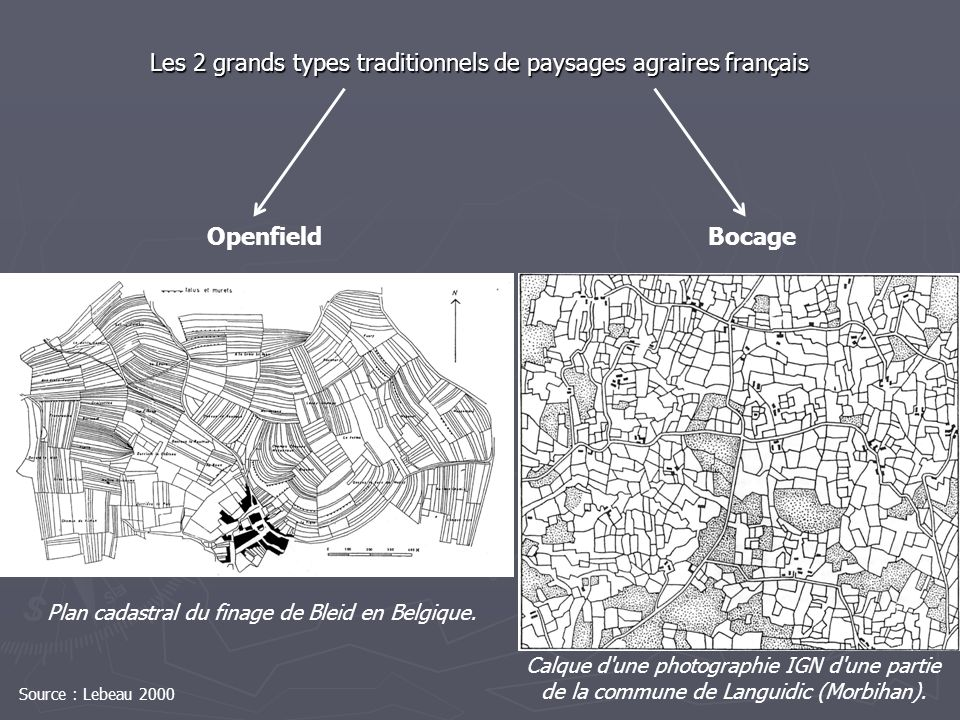 Les 2 grands types traditionnels de paysages agraires français