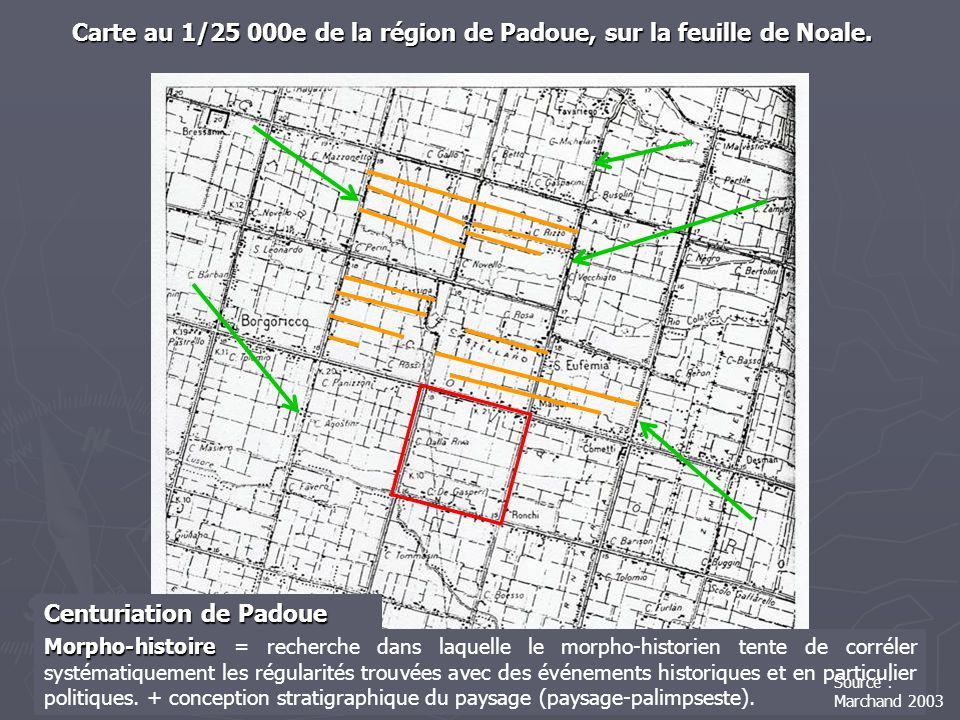 Carte au 1/25 000e de la région de Padoue, sur la feuille de Noale.