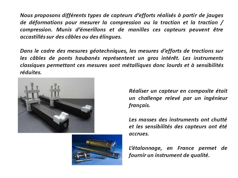 Nous proposons différents types de capteurs d'efforts réalisés à partir de jauges de déformations pour mesurer la compression ou la traction et la traction / compression. Munis d'émerillons et de manilles ces capteurs peuvent être accastillés sur des câbles ou des élingues.